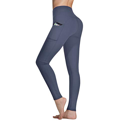 Occffy High Waist Yoga Pants for Women with Pockets Tummy Control Leggings Workout Running Tights DS166 (Deep Grey, XX-Large)