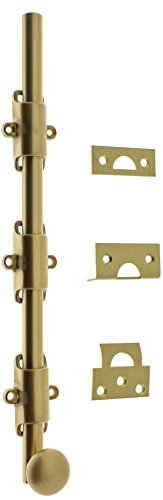 idh by St. Simons 11280-004 Premium Quality Solid Brass Heavy Duty Surface Bolt with Round Knob 18'', Satin by IDH by St. Simons