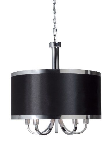 Steven And Chris By Artcraft Lighting SC435BK Madison Transitional 5-Light Chandelier, Black With Chrome (Artcraft Modern Chandelier)