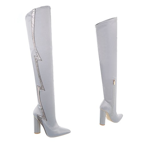 Jr Cuissardes Ital Et Kitten Gris Bottes Femme 010 design Clair heel Chaussures Bottines Pqa8rHPw