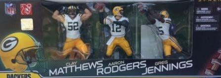 Green Bay Super Bowl Champions Packers Team Set Six Inch Action Figures Aaron Rodgers #12 Clay Matthews #52 and Greg Jennings #85 Action Figures White - Matthews 52 Green Clay