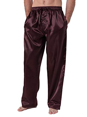 Mens Silk Lounge Pants - CYZ Men's Satin Pajama Pants-Red Dot-S