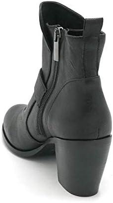 elena del chio SF 5802 Ankle Boots Leather Black Zipper Buckle Wide Heel 7cm - Shoe Size 36 Color Black