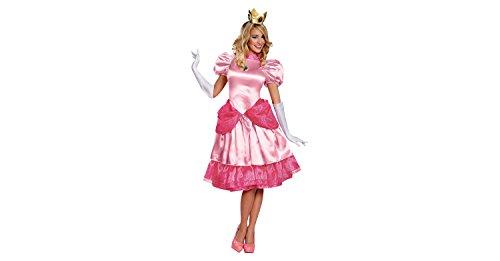 Princess Peach Women's Deluxe Mario Bros Nintendo Dress Costume + Coolie (L) (Peach From Mario Costume)