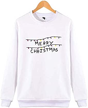 Europe and America plush round neck sweatshirt personalized letters merry christmas long sleeve t-shirt white M
