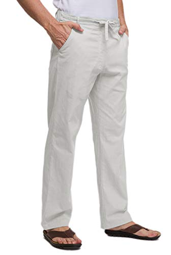 (Janmid Men's Drawstring Casual Beach Trousers Linen Summer Pants Light Grey L)