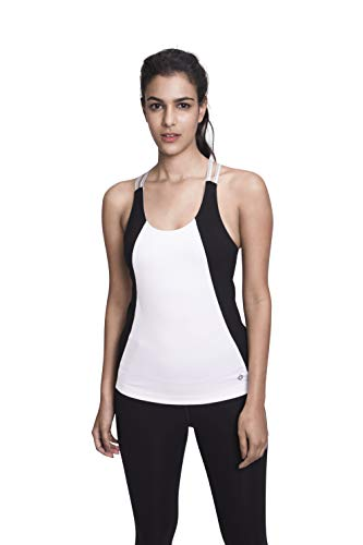 Organic Cross Back Tank - Satva Premium Organic Cotton Open Back Strappy Tank Top Camisole with Built in Shelf Bra for Yoga Workout Running Sports Training Cycling Arhat Fitted Cami, White & Black, Small