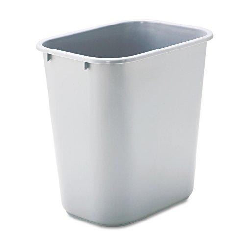 Rubbermaid Commercial 295600GY Deskside Plastic Wastebasket Rectangular 7 gal Gray