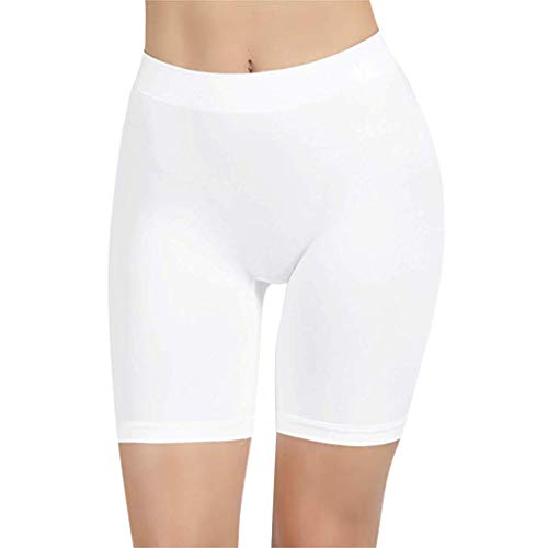 WOCACHI Yoga Pants for Womens, Women High Waist Comfortable Thigh Slimmer Slip Shorts for Under Dresses Pants Side Thong Sets Classic Pure Solid Color Sexy Ribbed Bandage Sports ()