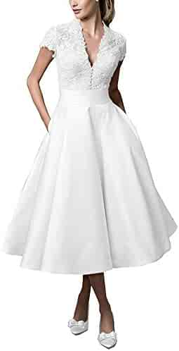 975b4706f2a Miao Duo Womens Vintage Tea-Length V Neck Lace Wedding Dresses Cap Sleeves  Short Bridal
