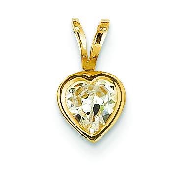 14K Yellow Gold 5 MM Heart Cubic Zirconia Solitaire Bezel Charm Pendant