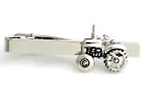 [Mondaily - Farmer Farm Tractor Trailer Tie Clip Silver Black Wedding Bar Clasp #PPTE5023] (Cats Musical Costume Rental)