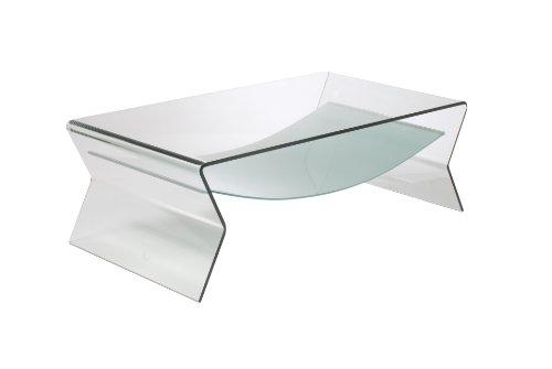 Eurø Style Giacomo Modern Bent Glass Coffee Table