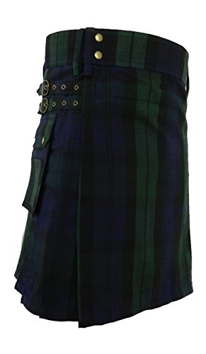 UTKilts Men's Black Watch Tartan Utility Kilt (40, Black Watch)