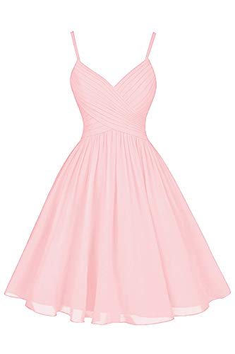 V Neck Spaghetti Strap Wedding Party Dress Short A-Line Homecoming Cocktail Dress with Pockets for Juniors Pink