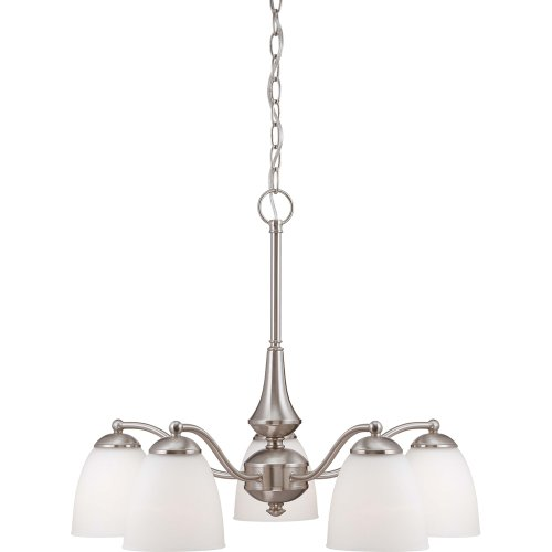 Nuvo Lighting 60/5063 Patton Energy Saving Five Light Chandelier-Arms Down Bulbs Included Frosted Glass Brushed Nickel Fixture (Billiard Spiral Light)