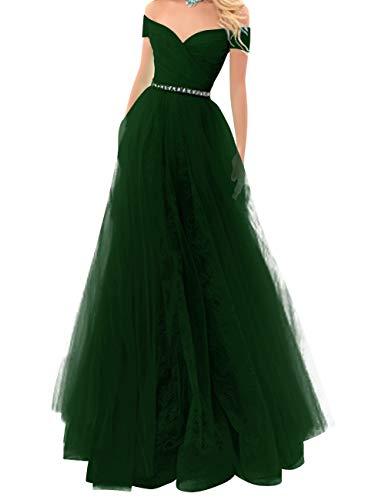 Di Convenzionale Merletto Partito Del Donne Cacciatore Fuori Perline Delle Verde Di Promenade Di Sposa Da Spalla Abito Bess Sera Di OwfUqIq