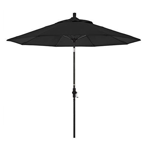 California Umbrella 9' Round Aluminum Pole Fiberglass Rib Market Umbrella, Crank Lift, Collar Tilt, Black Pole, Sunbrella Black
