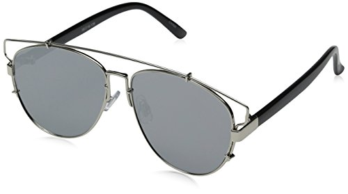 Technologic Full Metal Crossbar Flash Mirror Flat Lens Aviator - Wayfarer Silver Cross