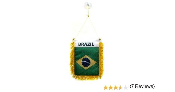 AZ FLAG BANDERIN de Brasil 15x10cm con Ventosa - BANDERINA BRASILEÑA 10 x 15 cm para Coche: Amazon.es: Hogar