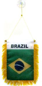 AZ FLAG Brazil Mini Banner 6'' x 4'' - Brazilian Pennant 15 x 10 cm - Mini Banners 4x6 inch Suction Cup Hanger (Brazil Flag Car)