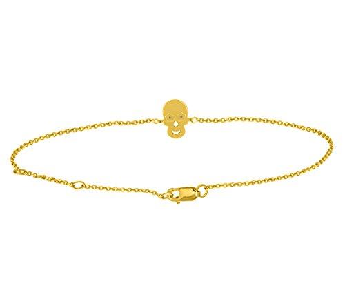 Or Jaune 14 ct Bracelet Diamant en forme de crâne, 0.04 Ct Diamant, GH-SI, 2.06 grammes.