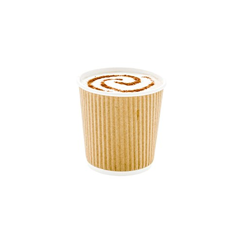 500-CT Disposable Kraft 4-OZ Hot Beverage Cups with Ripple Wall Design: No Need for Sleeves – Perfect for Cafes – Eco-Friendly Recyclable Paper – Insulated – Wholesale Takeout Coffee Cup - Coffee Hot Beverage