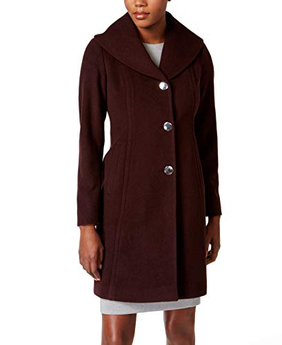 Anne Klein Wool Coat - Anne Klein Womens Shawl-Collar Wool-Blend Walker Coat Merlot 2