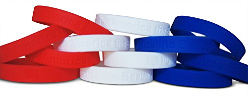 Novel Merk 12-Piece Patriotic America the Beautiful Red White & Blue Silicone Wristband Bracelet (Patriotic Centerpiece)