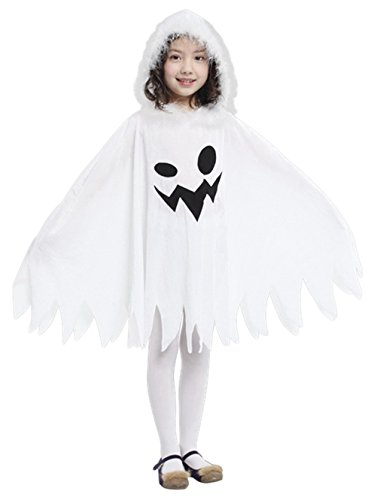 Kids White Ghost Halloween Cloak Costumes Toddlers Elf Cape Cosplay Role Play Dress Up (Small)