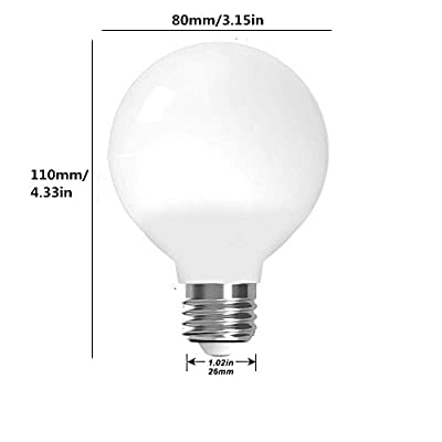 LXcom G25 Led Bulbs 5W Globe Light Bulbs(4 Pack)- E26/E27 Base G80 40W Incandescent Bulb Equivalent 3000K Warm White for Bathrooms Makeup Vanity Mirror Lamp,AC85V-265V