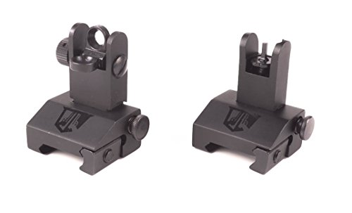 Flip Up Backup Battle Sights by Ozark Armament Picatinny Mount AR Pattern Flat-top Upper Co-Witness Iron Sights BUIS