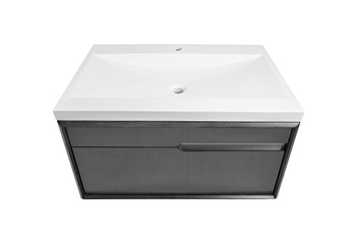 DECOLAV 1801-CHL Cityscape Wallmount Vanity with Solid Surface Countertop, Charcoal