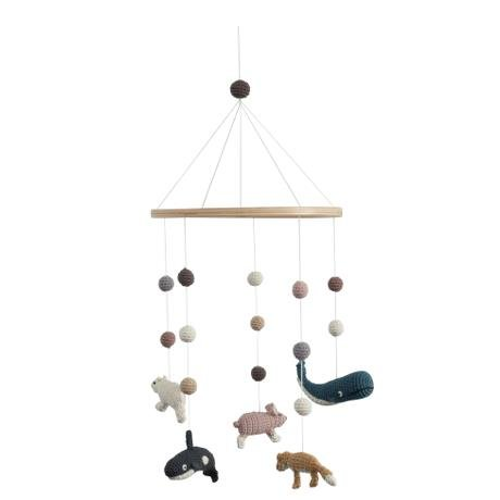 Sebra Felt Baby Mobile–Arctic Animals, Multi-Colour Girls Boys Mobile Cot Hand Made 57cm x 22cm Wood Ring Suitable from Birth 100% Cotton NEW SEBRA0432 Sebra Interior for Kids