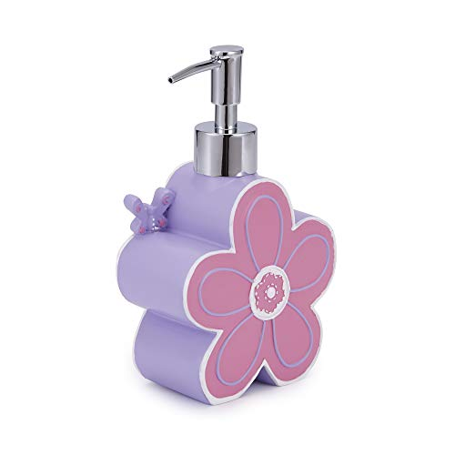 (Kassatex Butterfly Bath Accessories Lotion Dispenser One Size Pink, Lavender, White)