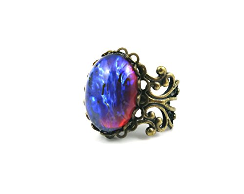 Little Gem Girl Synthetic Mexican Opal Czech Glass Dragons Breath Ring Red Blue Fire Amulet Adjustable Antique Bronze Filigree Setting