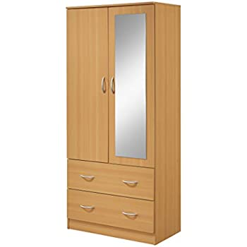 Amazon com: Hodedah Two Door Wardrobe, with Two Drawers, and