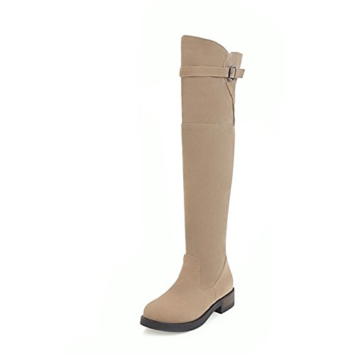 ZHZNVX HSXZ Casual Low Shoes Fall Boots Heel Thigh Women's leather Black Boots Boots Toe Dress high Round Red Beige Fashion for Beige Nubuck Buckle Winter frpqfHvdw