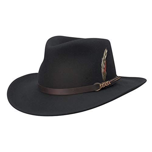 b27a56a3a72 SCALA Classico Men s Crushable Felt Outback Hat Wide Brim 100% Wool Felt UV  Protection at Amazon Men s Clothing store  Cowboy Hats