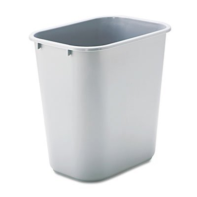 Deskside Plastic Wastebasket, Rectangular, 7gal, Gray, Total 12 EA, Sold as 1 Carton