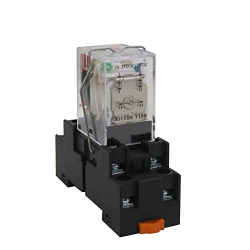 Ac Coil Relay - TWTADE/AC 110V Coil Electromagnetic Power Relay 5A 2DPT 8 Pins 2NO+2NC MY2J HH52P with YJF08A-E Socket Base (Quality Assurance for 2 Years) YJ2N-GS