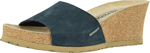 (Mephisto Women's, Lise Wedge Slides Navy Nubuck 10 M)