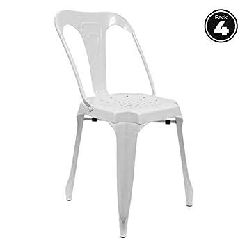 Regalos Miguel - Sillas - Pack 4 Sillas Ulix Blancas: Amazon.es: Hogar
