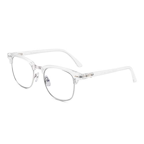 GLINDAR Blue Light Blocking Computer Glasses Retro Semi-rimless Style Reduce Eye Strain Video Game Eyeglasses Men Women Clear