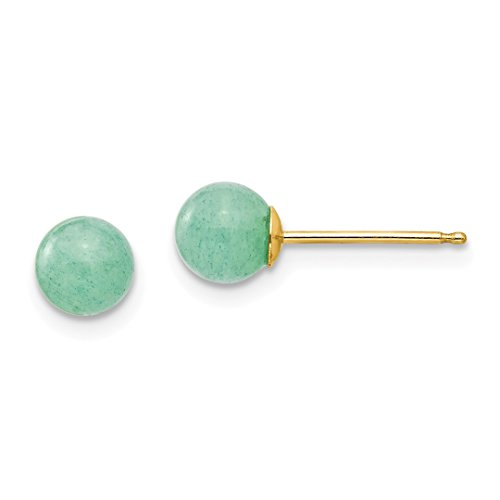 (14k Yellow Gold 5mm Green Natural Stone Post Stud Earrings Fine Jewelry For Women Gift Set)