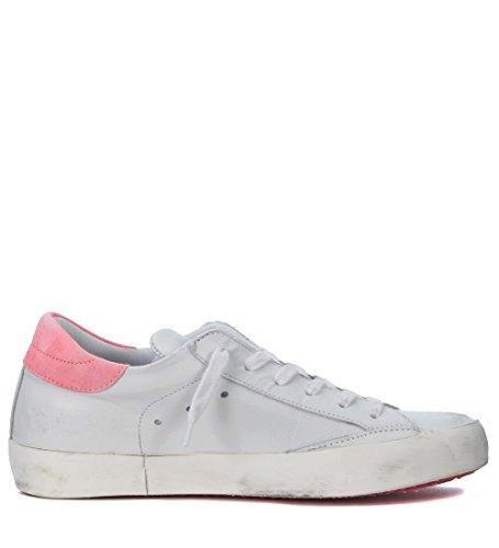 Philippe Modell Kvinna Paris Vitt Och Fluo Rosa Läder Sneakers Vit