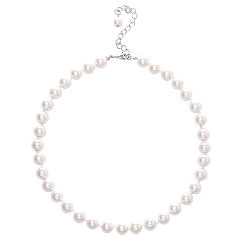 Jane Stone Fashion Simulated White Pearl Choker Collar Necklace for Women Mother (Pearl Choker)