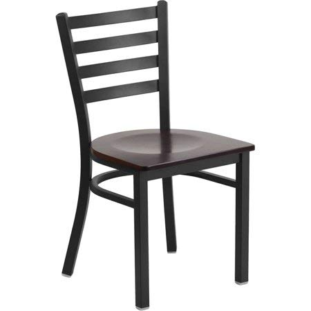 Hercules Series Ladder Back Metal Restaurant Chair (3-Pieces, Black Walnut)