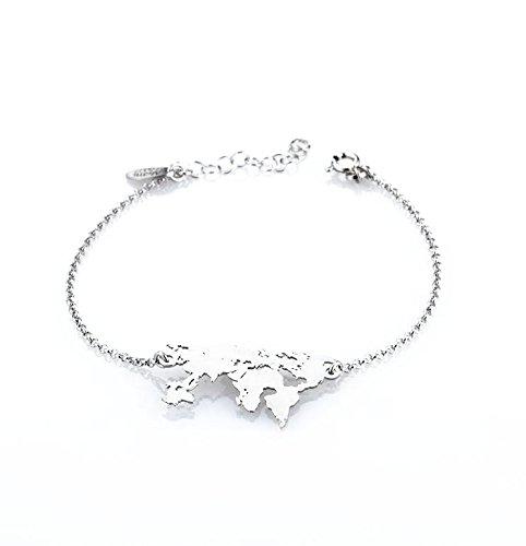 taglia 40 1f9f6 433e3 AleMi jewels Bracciale Mondo, bracciali in Argento 925 Personalizzato