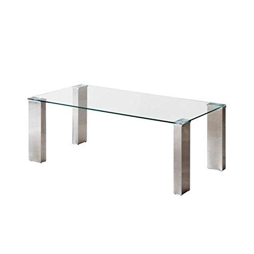 Homely - Mesa de Centro Karina con Tapa de Cristal Templado y Patas de A